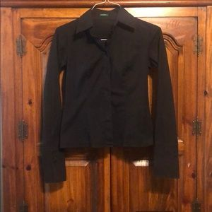 Benetton black button up blouse
